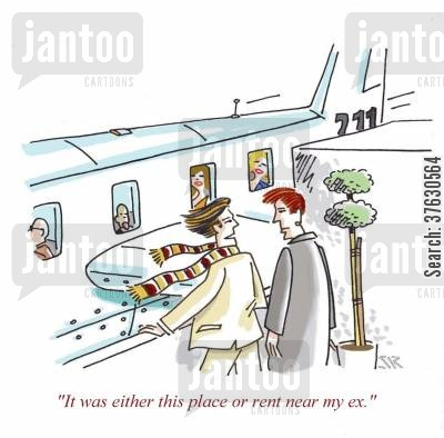 renting cartoon humor: 'It was either this place or rent near my ex.'