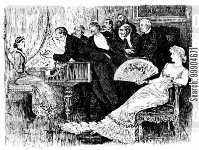upper class cartoon humor: Victorian bachelors leering over woman.