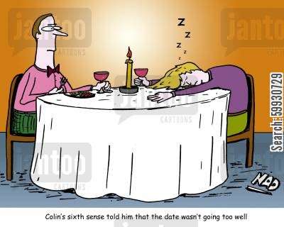 romance cartoon humor: Colin's sixth sense tells him that his date isn't going so well.