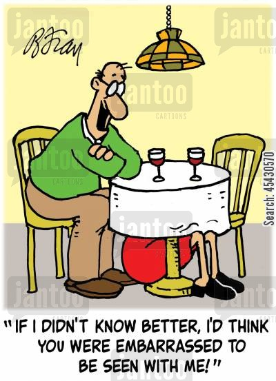 singles market cartoon humor: 'If I didn't know better, I'd think you were embarrassed to be seen with me!'
