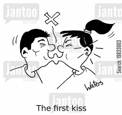 affectionate cartoon humor: The first kiss.