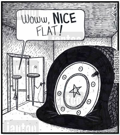 flat tyres cartoon humor: 'Wow, NICE Flat!'
