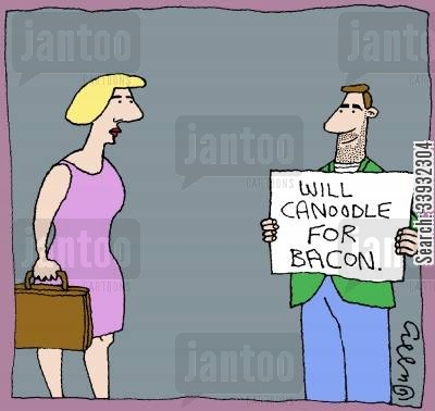bacon cartoon humor: Will canoodle for bacon.