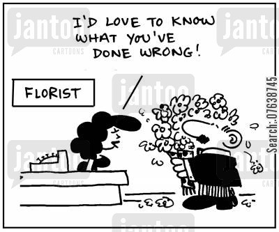 forgiving cartoon humor: 'I'd love to know what you've done wrong.'