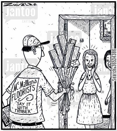 panels cartoon humor: 'Say it with Timber'