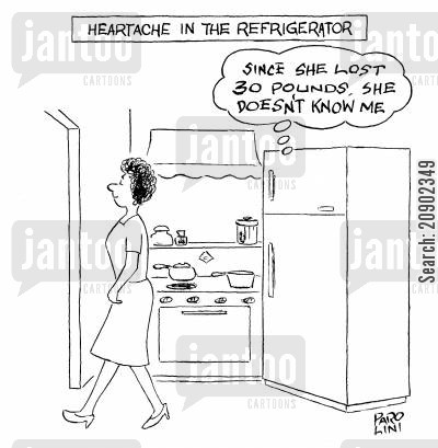heartache cartoon humor: Heartache in the refridgerator.