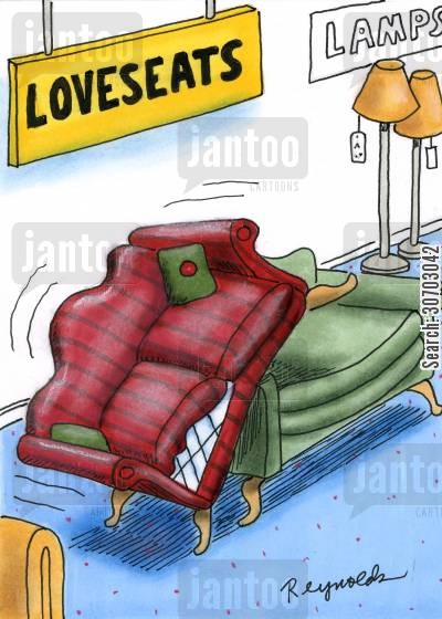 love seats cartoon humor: Love Seats.