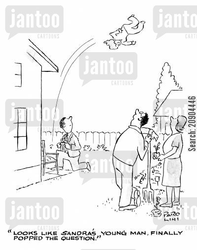 proposition cartoon humor: 'Looks like Sandra's young man finally popped the question.'