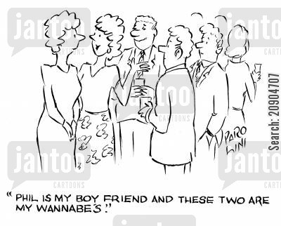 boy friends cartoon humor: 'Phil is my boyfriend an dthese two are my wannabe's.'