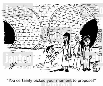 proposed cartoon humor: 'You certainly picked your moment to propose!'