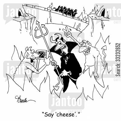 devil horns cartoon humor: 'Say 'cheese.''