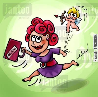 falling in love cartoon humor: Taking Cupid on a holiday.
