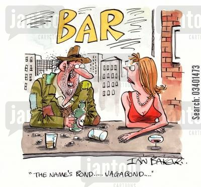 homeless men cartoon humor: 'The name's Bond . . .Vagabond . . . '