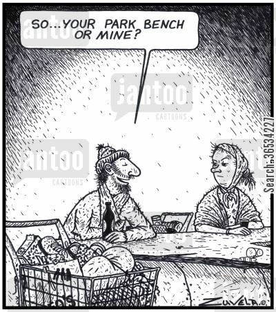 park benches cartoon humor: Homeless Man: 'So...your Park bench or mine?'