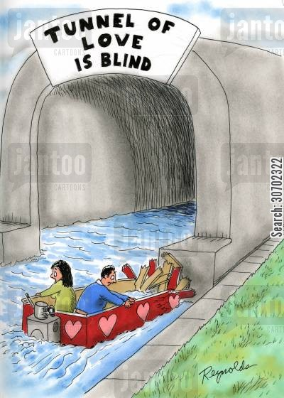 boat rides cartoon humor: Tunnel of Love is Blind.
