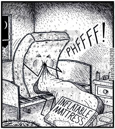 mattresses cartoon humor: A lonely Male mattress at home blowing up a inflatable mattress.