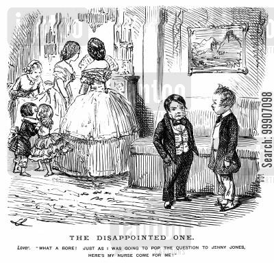 child-minder cartoon humor: A boy about to be taken to bed by his nurse
