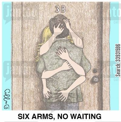 snogging cartoon humor: Six arms, no waiting.