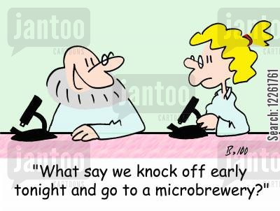 office romances cartoon humor: 'What say we knock off early tonight and go to a microbrewery?'