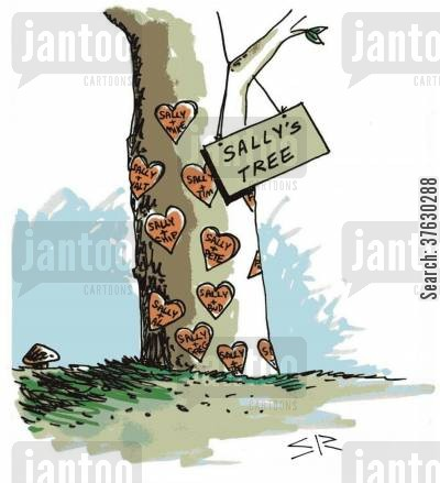 dedication cartoon humor: Tree of hearts,