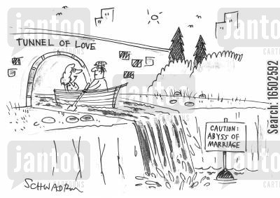 fairground ride cartoon humor: 'Tunnel of Love' leading to the 'Abyss of Marriage'.
