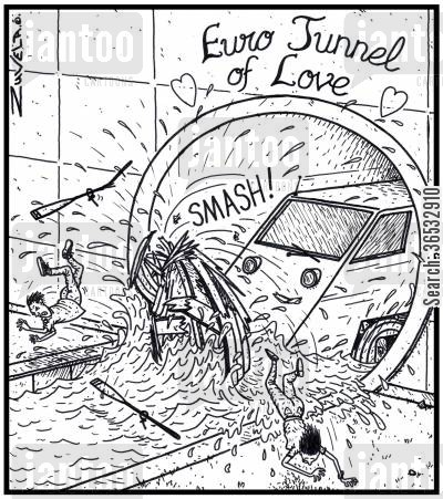 english channel cartoon humor: Euro Tunnel of Love.