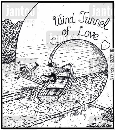 strong wind cartoon humor: Wind Tunnel of Love.