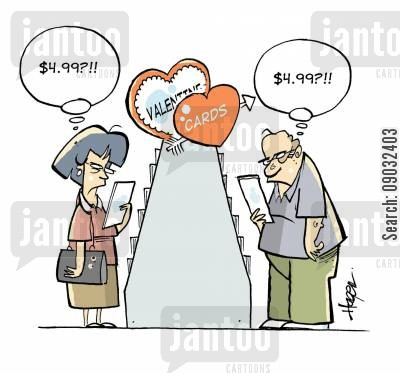 sweetheart cartoon humor: Married couple looking for Valentine cards.