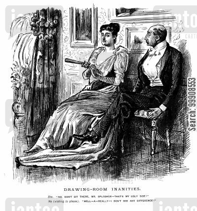 dating cartoon humor: Man and Woman in the Drawing Room