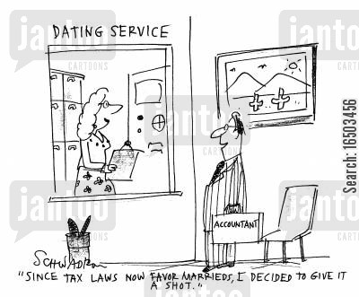 favors cartoon humor: 'Since tax laws favor marrieds, I decided to give it a shot.'