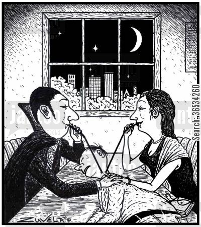arteries cartoon humor: Two Vampire Lovers sharing a drink of Human blood