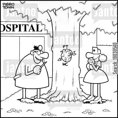 scalpels cartoon humor: Doctor carves realistic heart on a tree.