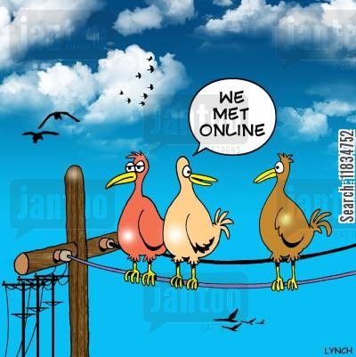 online date cartoon humor: 'We met online.'