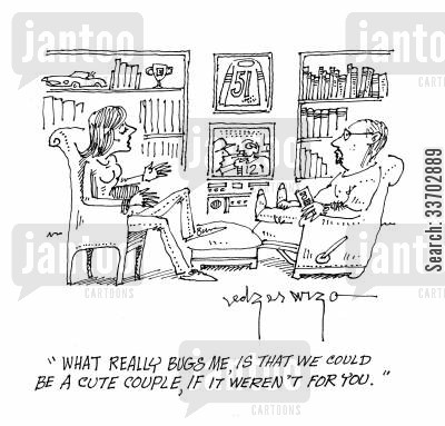 arguer cartoon humor: 'What really bugs me, is that we could be a cute couple, if it weren't for you.'