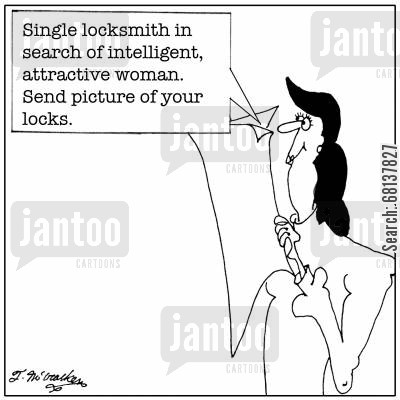classified ad cartoon humor: Single locksmith in search of intelligent, attractive woman. Send picture of your locks.