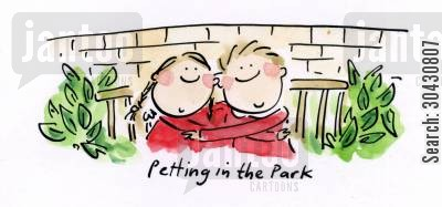 hyde cartoon humor: Petting in the park.