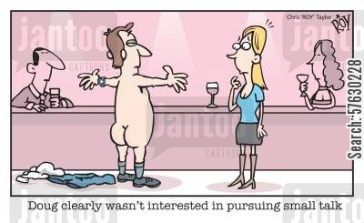 pickup line cartoon humor: 'Doug clearly wasn't interested in pursuing small talk'