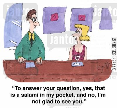 pleased to see you cartoon humor: 'To answer your question, yes, that is a salami in my pocket, and no, I'm not glad to see you.'