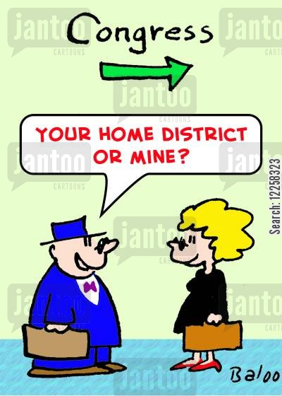 home district cartoon humor: 'Your home district or mine?'