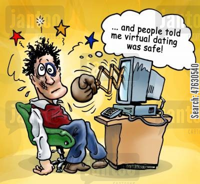 perfect men cartoon humor: People told me virtual dating was safe!