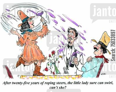 texans cartoon humor: 'After twenty-five years of roping steers, the little lady sure can swirl, can't she?'