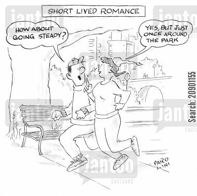 fling cartoon humor: A short lived romance: 'Yes, but just once around the park.'