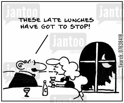 late lunch cartoon humor: 'These late lunches have got to stop.'