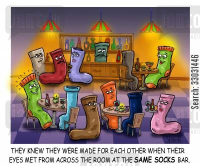 missing socks cartoon humor: They knew they were made for each other when their eyes met from across the room at the Same Socks Bar,