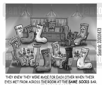 dating service cartoon humor: 'SAME SOCKS BAR.'