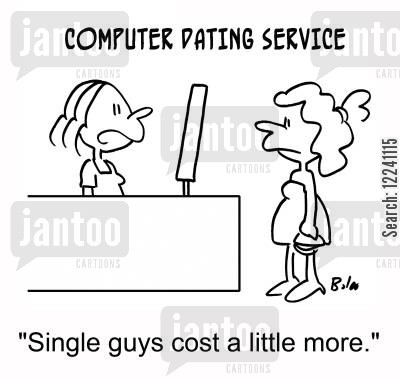 single guys cartoon humor: 'Single guys cost a little more.'