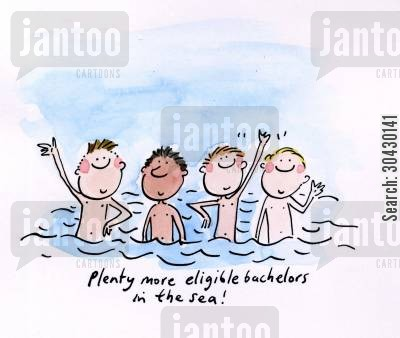 single man cartoon humor: Plenty more eligible bachelors in the sea.