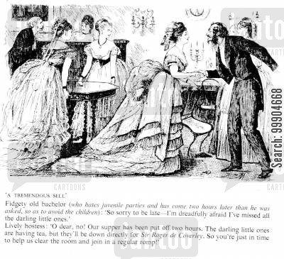 furniture cartoon humor: Rude bachelor at victorian dinner party.