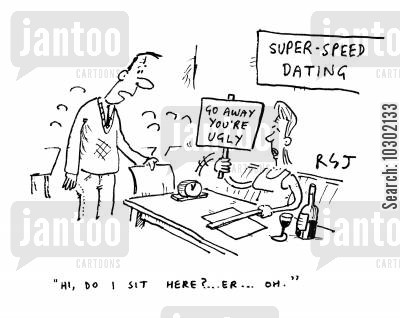 pickup line cartoon humor: 'Hi, do I sit here? Er...Oh.' (woman holding up sign saying 'Go away, you're ugly.').