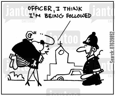 relationship problems cartoon humor: 'Officer, I think I'm being followed.'
